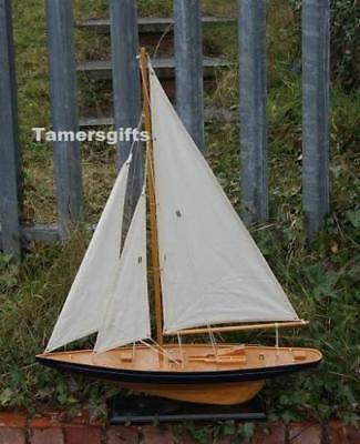 "31"" Large Blue Sail Boat Yacht Wood Model Nautical Brand New Gift"