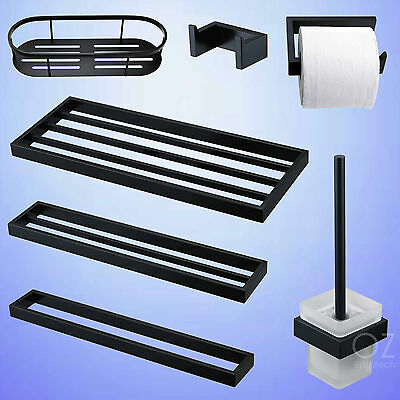 Matt Black Towel Rack Rail Bar Toilet Paper Roll Holder Brush Robe Hook Shelf