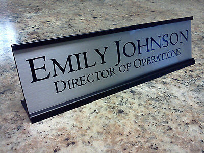 Personalized Desk Name plate nameplate Silver with Black Metal Holder 2 x 8 inch