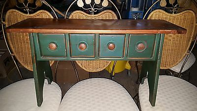 Vintage CODY ROAD WORKSHOPS Solid Wood Craft or Sewing Bench w 4 Drawers sj