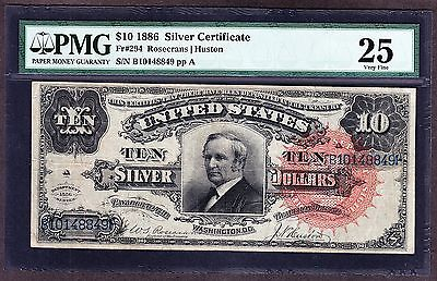 US 1886 $10 Tombstone Silver Certificate FR 294 PMG 25 VF (-849)