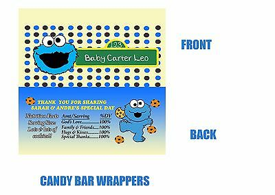 Baby Shower Candy Bar Wrapper, Party Favor, Cookie Monster, Baby Shower
