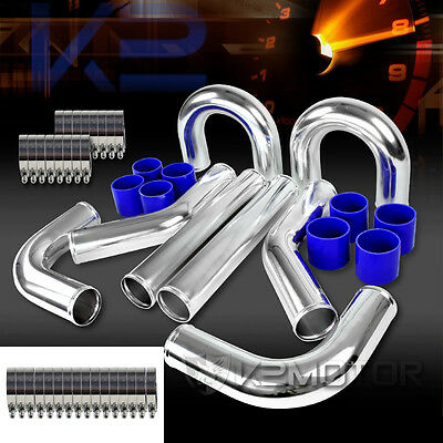 "8x 3"" FMIC Front Turbo Intercooler Piping+Clamp+Hose Kit Aluminum"
