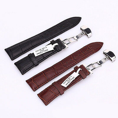 Genuine Leather Strap Wrist Band Classic Butterfly Lock Buckle For Apple Watch
