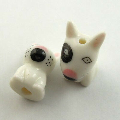 30015 Mix Size Porcelain Black Spud Bull Terrier Dog Beads Jewelry Finding 10pcs
