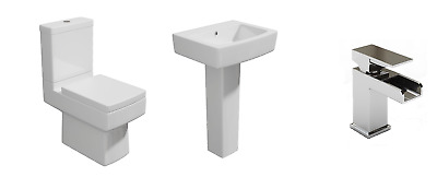 Toilet and Sink Cloakroom Suite Square Modern with Waterfall Tap Bathroom Basin