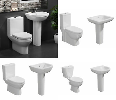 Cloakroom Toilet and Basin Set WC Sink Suite Soft Close Seat Designer Modern New