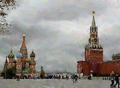 """RUSSIA MOSCOW RED SQUARE Painting Giclee Canvas Signed 16""""x20"""" Impressionism Art"""