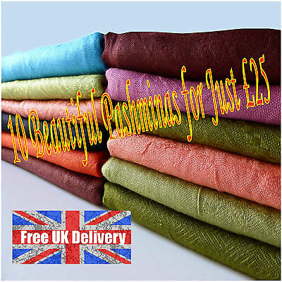 Pashmina Shawl Scarf Joblot Wholesale 10 in Assorted Colours Beautiful Patterns