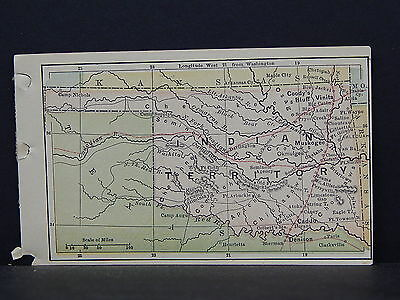 """Antique Miniature Map 1880 Bradstreet's, 3.1/8"""" by 5.1/8"""" #19 Indian Territory"""