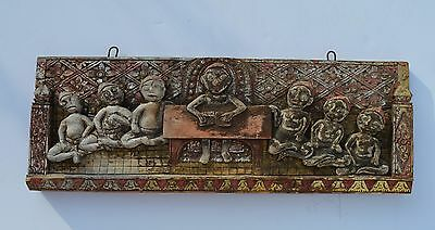 Unusual Antique Chinese Hand Craved Wood Panel Depicts Children In Class
