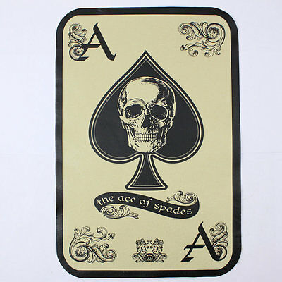 Biker Chopper Ace Of Spades Skull Totenkopf Echt Leder Rücken Aufnäher Backpatch