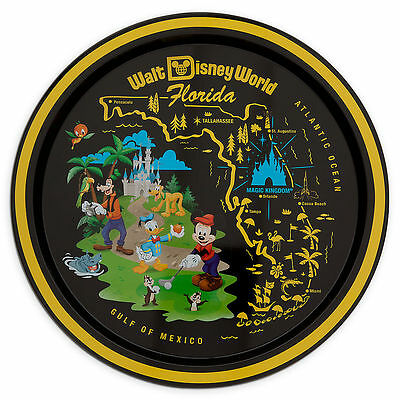 Disney Parks Mickey Mouse and Friends Souvenir Metal Tray Round Disney World Map