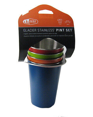 GSI Outdoors Glacier Stainless Pint Set of 4, Color Coded
