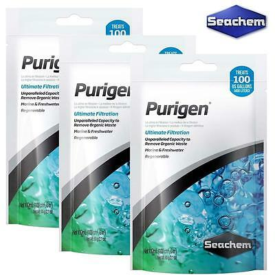 3x SEACHEM PURIGEN 100ML FILTER FILTRATION MEDIA AQUARIUM TRIPLE PACK