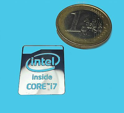 INTEL CORE i7 METALISSED CHROME EFFECT STICKER LOGO AUFKLEBER 16x21mm [530]