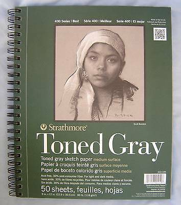 """Strathmore Series 400 Toned Gray Sketching Sketch Paper Pad 9"""" x 12"""" 50 Sheets"""