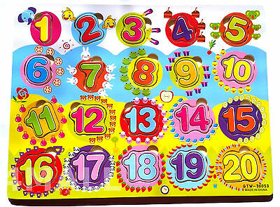 Kids Girls Boys Educational Wooden Puzzle Jigsaw Toy Gift Numbers Digits Xmas