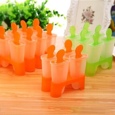 4/6/8Cell Frozen Ice Cream Pop Mold Popsicle Maker Lolly Mould Tray Pan Kitchen