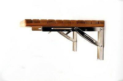 Teak Wood Folding Shower Seat Bench Wall Mounted Solid Shower Seat