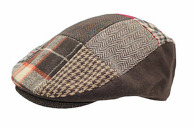 Mens Womens Patchwork Country Tweed  Flat Cap 3 Colours 3 Sizes
