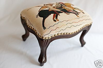 Medieval Louis XV Style Hand Carved French Footstool/ Ottoman - The Chevaliers