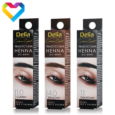 DELIA HENNA Traditional Powder Eyebrow Eyelashes BLACK BROWN Professional 2g