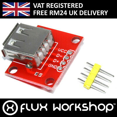 USB A Breakout Module Red Arduino Breadboard 4 Pin Flux Workshop