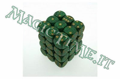 Set 36 dadi CHESSEX Speckled Golden Recon Verde/Nero Oro 25935 Dice CHX