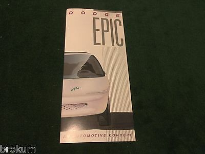 "Mint 1996 Dodge Epic Dealer Sales Brochure Electric Car 8-1/2"" X 3-3/4"" (R-7)"