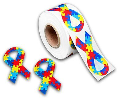 Autism Awareness Puzzle Piece Ribbon Large Stickers- 1 Roll