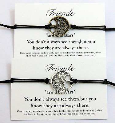 Friends Star Wish Bracelet Tree Of Life Friendship Birthday Best Friend Gift Bag