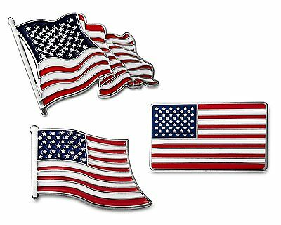 American Flag Lapel Pin Set 3-Pc USA American Flag Patriotic Military Collection