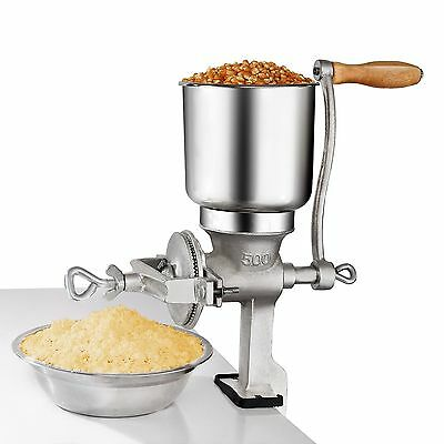 Hand Grain Mill Crank Corn Grinder Wheat Grains Nuts Oats Manual Cast Iron NEW