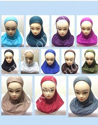 Muslim Kids Girls Hijab Islamic Headscarf Plain Scarf Head Hijab Scarf Shawls