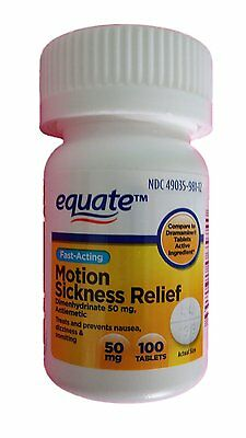 Equate Motion Sickness Relief 50mg 100 Tablets