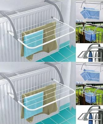 2x FOLDING RADIATOR CLOTH AIRER RACK CLOTHES LAUNDRY DRYER PORTABLE COMPING