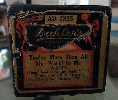 Vintage Mastertouch Pianola Roll Your More Than All The World To Me Waltz