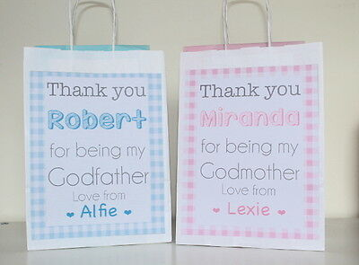 Personalised Paper Christening Favour Party Gift Bags Present Baby Shower