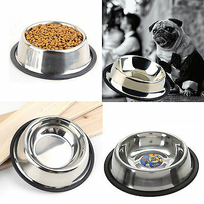 Stainless Steel Pet Bowl Dog Cat Puppy Non Slip Food Water Feeding Time Dish
