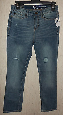 "NWT WOMENS Gap ""SLIM STRAIGHT CROP"" DISTRESSED BLUE JEANS  SIZE 0/25"