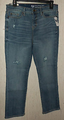"NWT WOMENS Gap ""SLIM STRAIGHT CROP"" DISTRESSED BLUE JEANS  SIZE 4/27"