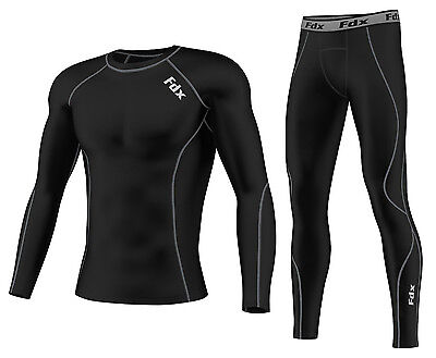 FDX Mens Compression Armour Base layer Top Skin Fit Shirt +pants / leggings set