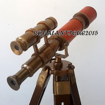 Antique Solid Brass Halloween Nautical Navy Telescope w Tripod Vintage Leather