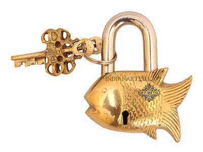 Vintage Style Antique Fish Design Lock with 2 Keys for Home Temple Gift