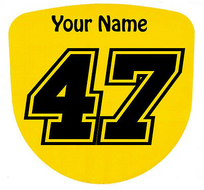 3 x Custom Race Numbers and Name Stickers Decals Kart Motocross MX Dirt Bike -S4