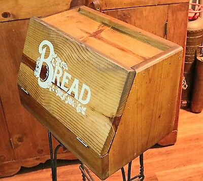 Vintage Wooden Bread Box Rustic Country Kitchen