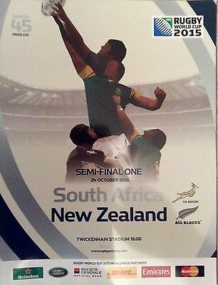 Rugby World Cup England 2015 Programme Match 45 South Africa vs New Zealand
