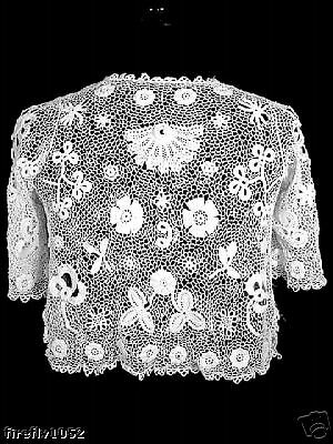 Very Rare Antique Victorian French 1800's Irish Lace Shoulder Jacket Size Small