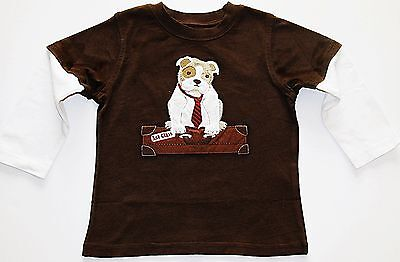 Gymboree boy long sleeve applique dog 1st class double sleeve t-shirt 2T NWT